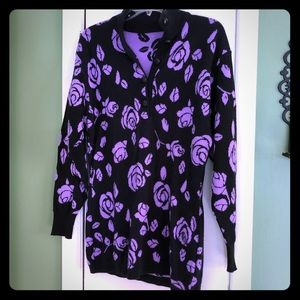Vintage Purple Rose Sweater Dress